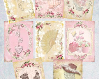 "Instant Download - Printable Digital Collage Sheet Shabby Chic Tags, Cards 2.5"" x 3.5"" Eight Different Cards Personal and Commercial Use"