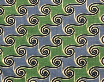 Cotton Fabric / Blue Cotton Fabric / Green Cotton Fabric / Blue and Green Cotton Fabric / Vintage Cotton / Marcus Brothers Fabric / 1 Yard