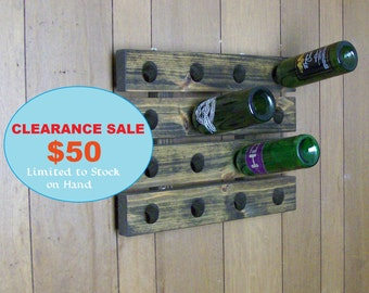 Wood Wine Rack Riddling Style Walnut Finish Wall Hanging Country Wine Decor
