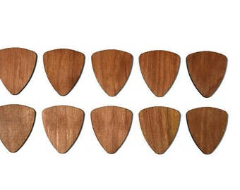 Set of 10 Wood Guitar Picks - 2017 Special! Cherry Wood -Flat Laser Cut Guitar Picks - Personalized custom engraving available!