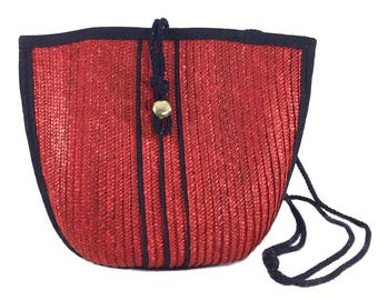 vintage 1970s rafia shoulder bag / Pappagallo / red navy blue / nautical / bucket bag / vintage purse