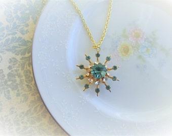 "Repurposed Vintage Rhinestone Brooch into Pendant Necklace. Gold, Aquamarine Glass Jewel, Light Blue, Snowflake, Diamond Gems, 18"" Necklace"