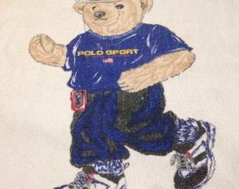 "Vintage Ralph Lauren Sport Polo Bear Beach Towel Running Jogging Rare Walkman USA Flag 34"" X 64.5"""