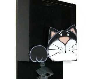 Wall bottle opener with black cat - Pub bottle opener - Beer bottle opener -