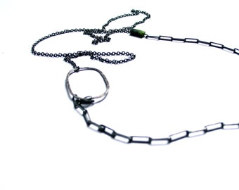 Mix and match necklace. Long necklace Modern jewelry. Contemporary. Metal, stone, marble, Sterling silver oxidized.