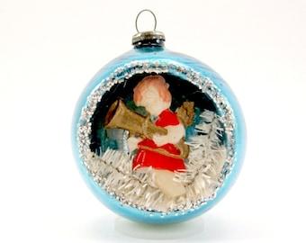 Blue 1950s Christmas Decoration Angel Diorama Christmas Ornament Bauble