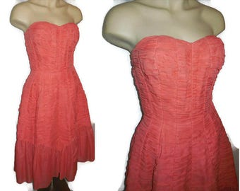 Vintage 1950s Dress Strapless Red Dress Bouffant Mermaid Nylon Dress Ruching Hairspray Rockabilly Formal Prom Dress Dancing Dress S chest 36