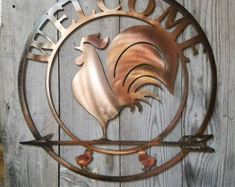 Rooster Antique Copper Plated Welcome Sign