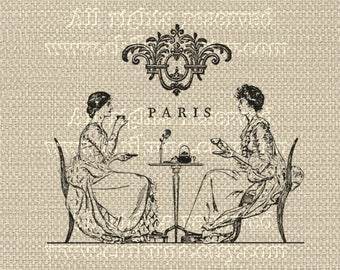 Antique PARIS French TEA TIME - Large Single Image - Printable to print on Fabric, Iron On Transfer for Tote Bags t-shirts Pillows