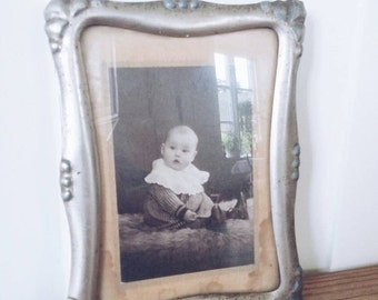 SALE Antique metal frame with baby
