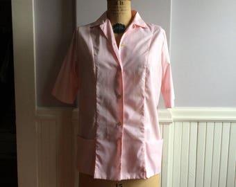 60's Pink Cotton and Polyester Hairstylist Uniform Top / Pink Cotton Blend Uniform Top / Vintage Waitress Attire / Retro Beauty Salon Attire