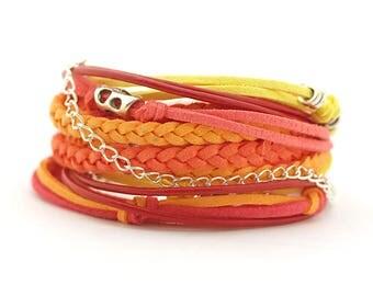 Yellow Orange Coral Wrap Bracelet, Rimbow Boho bracelet, Hippie Gypsy Bracelet, Summer Bohemian Jewelry, gift for her, double wrap bracelet