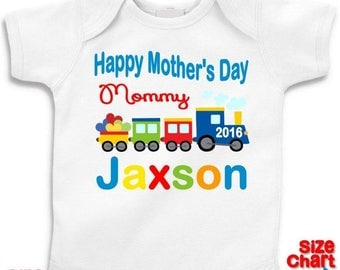 SALE Personalized Baby Little Boy Happy Mother's Day Mommy 2016 Choo Choo Train Heart T-shirt Shirt Bodysuit Boy 1st First Mother's Day