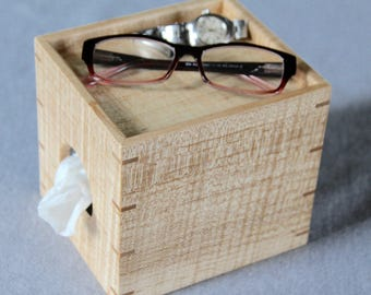 Tissue Box Cover for Nightstand Made out of Curly Maple - Free Shipping to USA