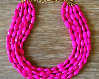 Statement Necklace Bridesmaid Jewelry PRETTY IN PINK Necklace  Wedding Jewelry Statement Jewlery mint Necklace