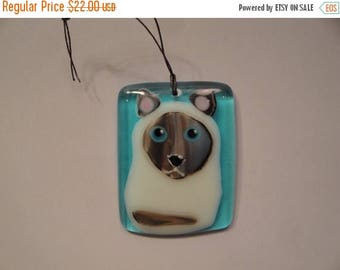 MOTHERS DAY SALE Fused Glass Siamese Cat Ornament - Bhs03480