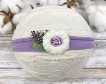 Lavender tieback headband~Jersey tieback~Purple tieback headband~Baby girl~Newborn~Toddler~Baby~Prop~Photo prop~Photography prop