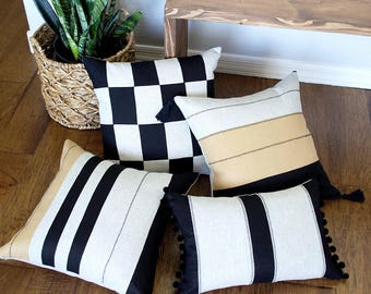 Tribal Stripe and Colorblock Pillow Covers with Novelty Stitching - Set of 4