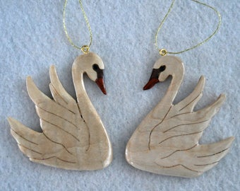 Swan ornaments - handmade - curly maple