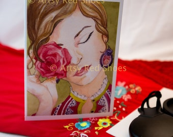 flamenco art, flamenco painting greeting card, flamenco watercolor, flamenco watercolor painting, flamenco dancer, flamenco watercolor