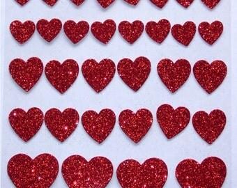 32 Red Glitter Foam Valentine Heart Shaped Stickers