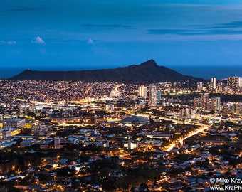 Downtown Honolulu City Lights at Night w/ Diamond Head Crater