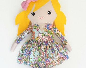 """Handmade rag doll, cloth doll, large rag doll, large cloth doll, handmade cloth doll, handmade rag doll, large heirloom doll 24"""" soft toy"""