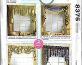 ON SALE McCall's 8375 Home Dec In A Sec Window Treatment Pattern, Valances,  Uncut