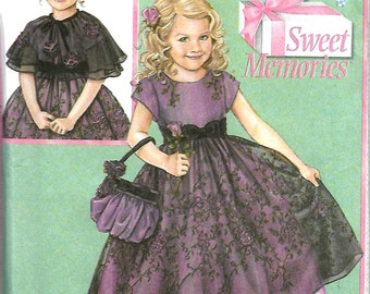 Daisy Kingdom Simplicity 4448 Girls Dress, Capelet And Purse Pattern Size 5-8, UNCUT