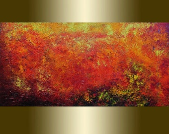Oil  painting Abstract red yellow orange.