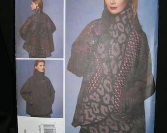 Size 4 - 14, XS - M, Vogue 1277, Koos Van Den Akker, American Designer, reversible wrap jacket, standing collar, bias and organic features