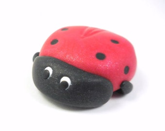 Polymer Clay Ladybug, Handmade Insect Sculpture, Miniature, Animal Figurine
