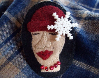 Crazy Hat Lady Winter Snowflake Stocking Cap Brooch Christmas Felt Pin