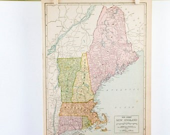 1928 Atlas Page From New International Atlas of the World, Florida & New England