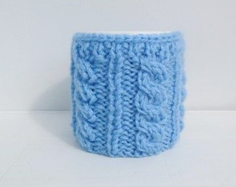 Christmas Coffe Cozy,Red heart Mug Cozy, Cup Cosy, Mug Warmer knitted, Light Blue color,valentines gift Will fit standard size mug