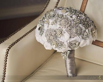 Brooch Bouquet Satin Flower Brooch Bouquet READY TO SHIP Bridal bouquet bride