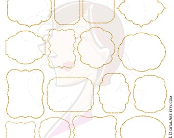 Glitter Frame Gold Clipart Set LARGE 10 Inch Jpeg Png Files Digital Download Sparkle Frames and Borders Label Tags Commercial Use 10323