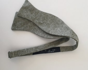 Men and Teen's Olive Green Linen Bow Tie