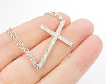 Sideways Cross Bracelet in Sterling Silver with Cubic Zirconia Diamond, Trending, Gift Ideas,