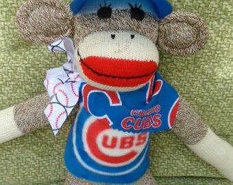 World Series Champions Cicago Cubs Red Heel Sock Monkey Doll/Handmade