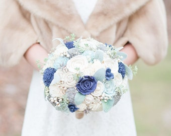 Wedding Bouquet, Sola wood Bouquet, Blue, Grey Bouquet, Blue Wedding Bouquet, Alternative Bouquet, Bouquet, Sola flowers, Wood Bouquet