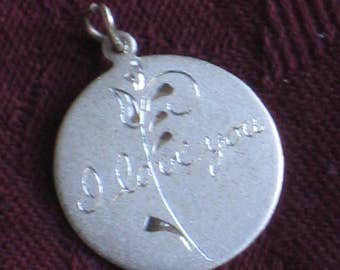"""Vintage Sterling Silver Charm - """"I Love You"""" Inscription - Round - Jewelry, Supplies - Valentine's, Wedding, Gift"""