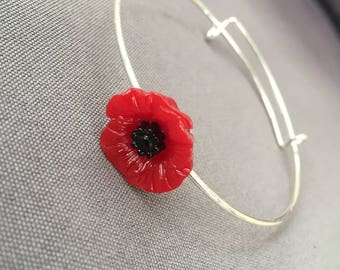 Women's Red poppy Flower Bangle