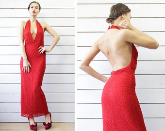 Vintage red lace fitted backless low open front decolette evening maxi dress S M