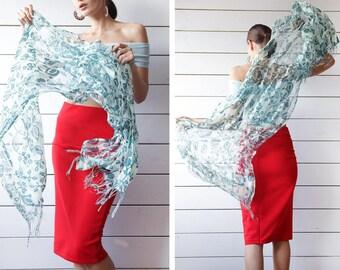 Vintage blue leaf floral print semi sheer silky gauze fringe scarf shawl thin shoulder wrap