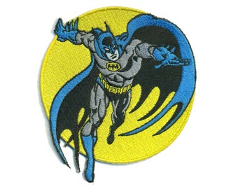 BATMAN Iron-On Patch DC Comic Marvel Book Tee T-shirt Applique Super Hero Geek Nerd Cosplay Con Dark Knight Retro Adam West 60s Vintage