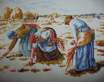Vintage Swedish hand embroidered tapestry - Harvest - Cross stitch embroidery