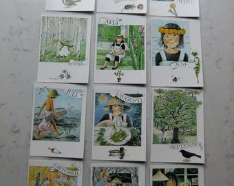 Vintage Swedish Linnea Post cards - All year around with Linnea - Set of twelve cards - Unused