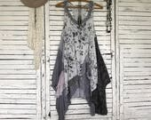 Free Size Tank Top for Layering, Upcycled Clothing for Women, Racer Back, with Lace, Tunic,  Hippie Boho