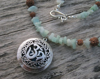 """Om Diffuser Necklace,  23"""" Essential Oil Diffuser Gemstone Necklace, Amazonite Bodhi Seed Necklace, Aum Locket Mala Necklace, READY To SHIP"""